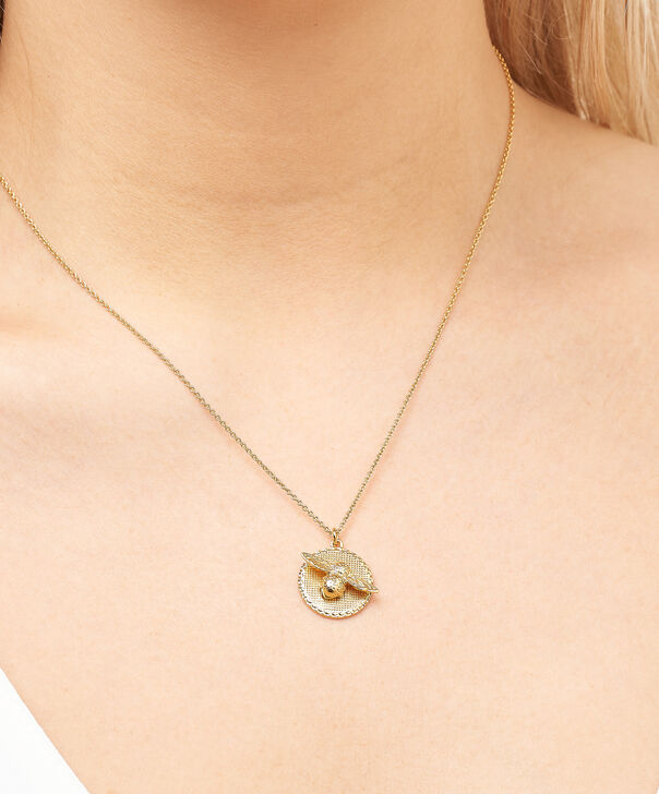 OLIVIA BURTON LONDON  3D Bee & Coin Necklace Gold OBJ16AMN08 – 3D Bee Disc Necklace - Other view