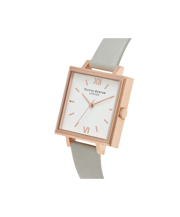 OLIVIA BURTON LONDON  Big Dial Square Dial Grey & Rose Gold Watch OB16SS23 – Big Dial Square in White and Grey - Side view