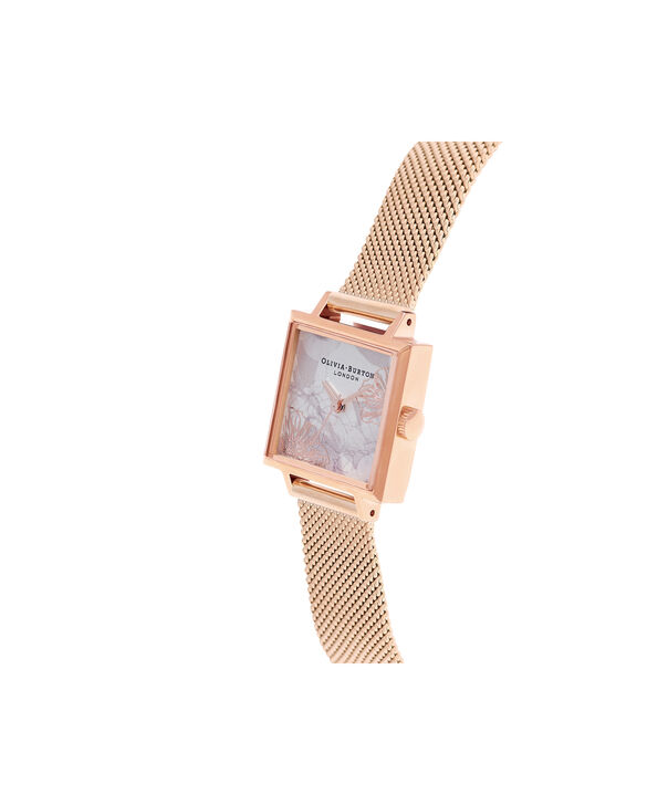 OLIVIA BURTON LONDON Abstract Florals Rose Gold Mesh Watch  OB16VM18 – Midi Dial Square in White Floral and Rose Gold - Side view