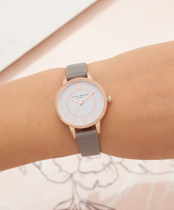 OLIVIA BURTON LONDON  Wonderland London Grey & Rose Gold Watch OB16WD63 – Midi Dial Round in Silver and Grey - Other view