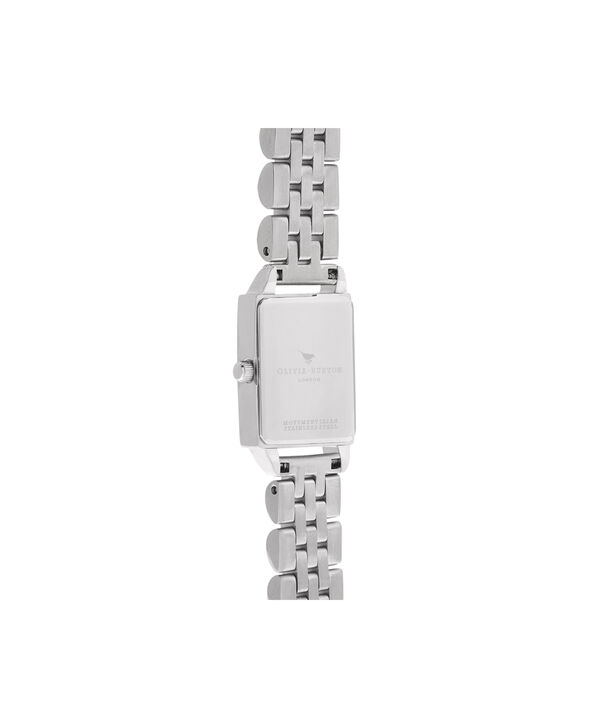 OLIVIA BURTON LONDON  Bee Hive Grey Mother of Pearl Bracelet, Silver OB16BH03 – Midi Dial Rectangle in Silver and Silver - Back view