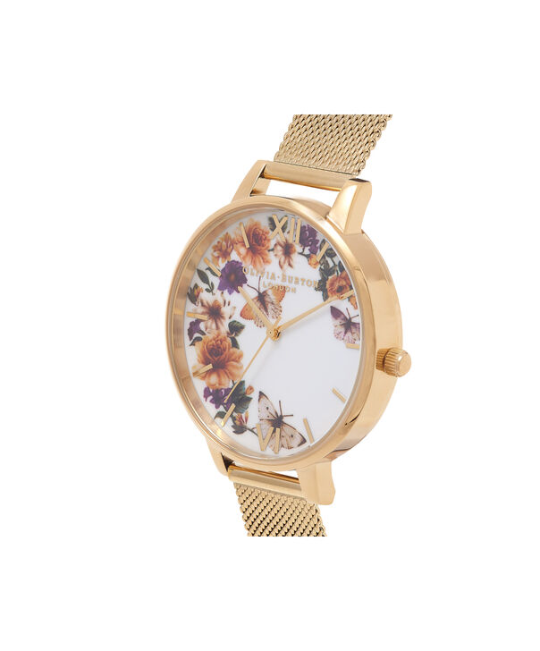 OLIVIA BURTON LONDON  Enchanted Garden Butterflies Gold Mesh Watch OB16FS90 – Big Dial Round in White and Gold - Side view