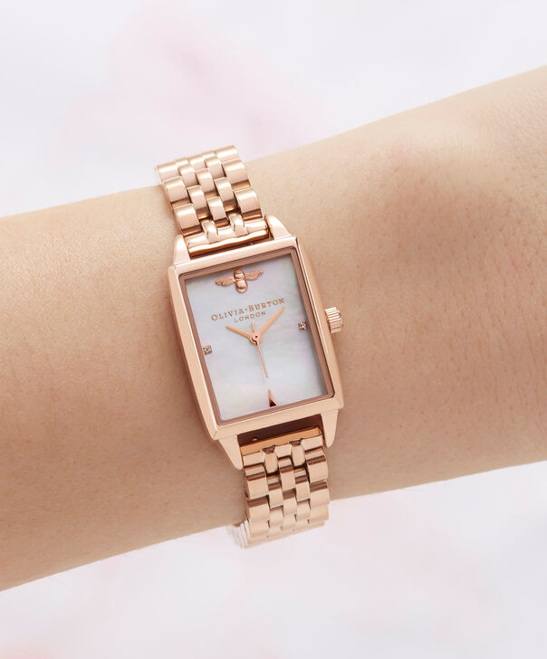 OLIVIA BURTON LONDON Bee Hive White Mother of Pearl & Rose GoldOB16BH01 – Midi Dial Rectangle in Rose Gold and Rose Gold - Other view