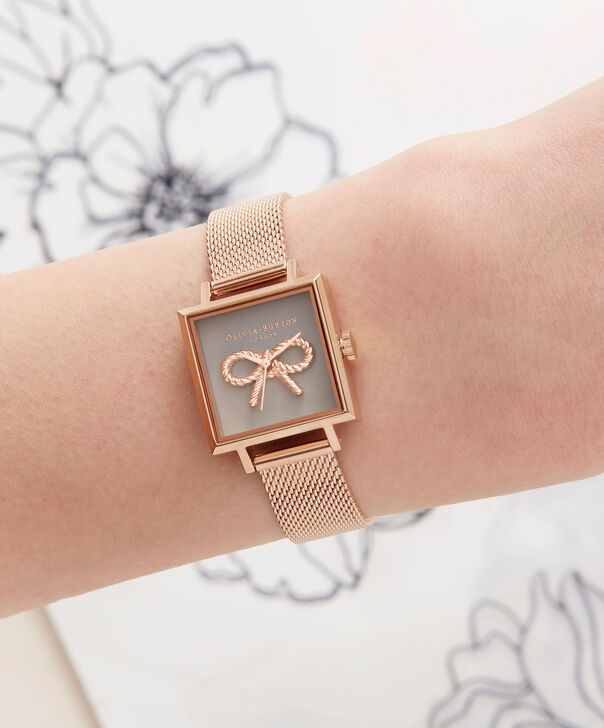 OLIVIA BURTON LONDON  Vintage Bow Grey & Rose Gold Mesh OB16VB10 – Midi Dial Round in Rose Gold - Other view