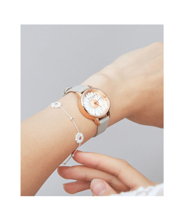 OLIVIA BURTON LONDON  3D Daisy Grey & Rose Gold Watch OB15EG50 – Midi Dial Round in White and Grey - Other view