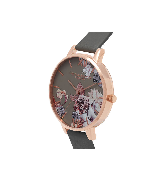 OLIVIA BURTON LONDON  Marble Floral Dark Grey & Rose Gold Watch OB16CS08 – Big Dial in Floral and Dark Grey - Side view