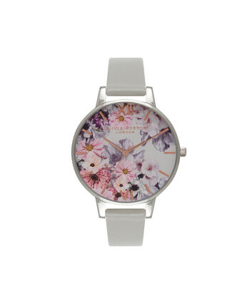 OLIVIA BURTON LONDON  Enchanted Garden Grey & Silver Watch OB15FS76 – Big Dial Round in Floral and Grey - Front view