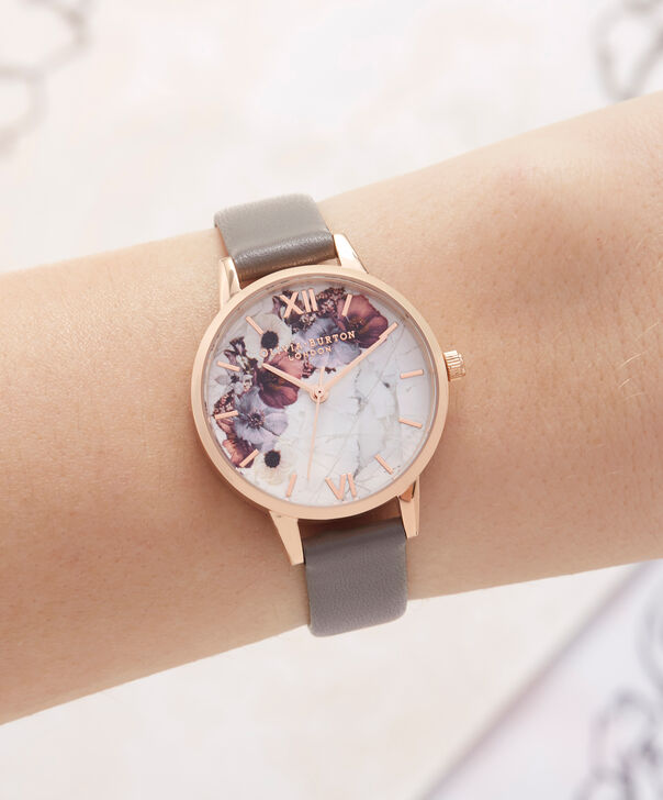 OLIVIA BURTON LONDON  Marble Floral London Grey & Rose Gold OB16MF08 – Midi Dial Round in Rose Gold and Grey - Other view