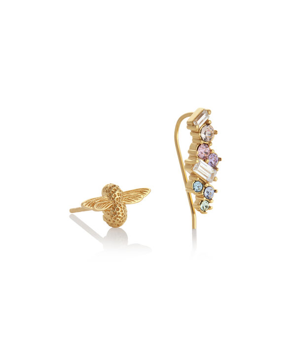 OLIVIA BURTON LONDON Rainbow Bee Crawler & Stud GoldOBJAME130 – Earrings in Gold - Side view