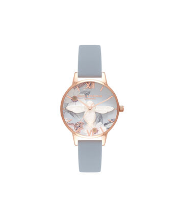 OLIVIA BURTON LONDON Bejewelled FloralsOB16BF07 – Midi Round Silver and Rose Gold - Front view