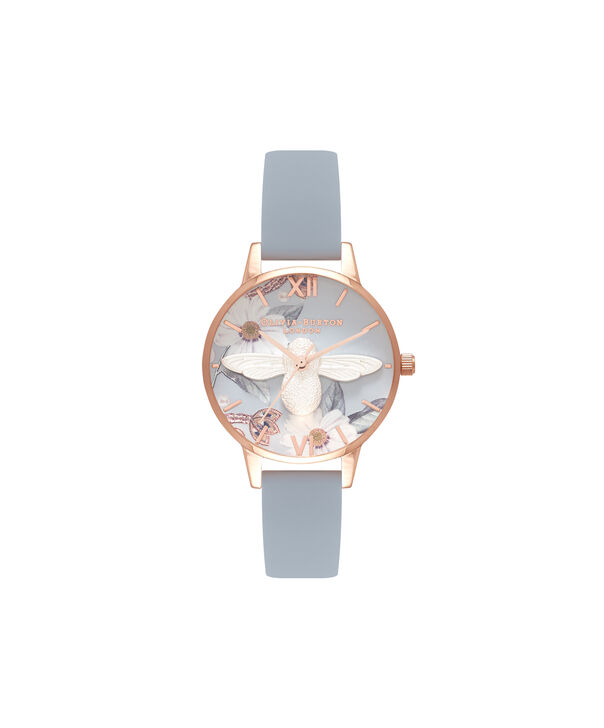 OLIVIA BURTON LONDON  Bejewelled Silver & Rose Gold Watch OB16BF07 – Midi Round Silver and Rose Gold - Front view