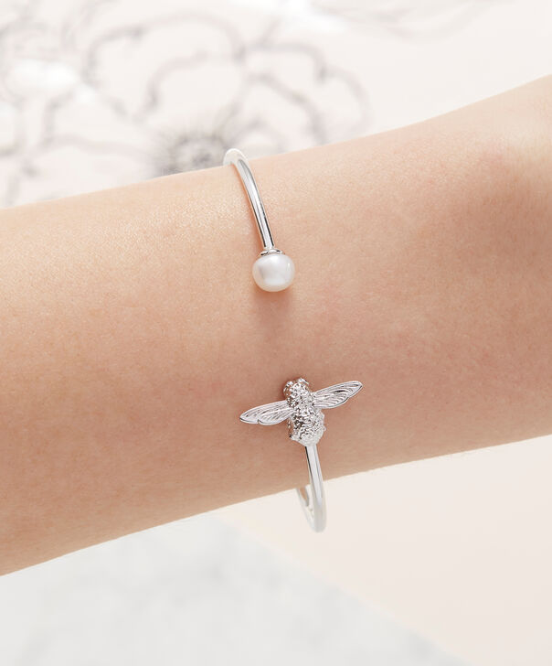 OLIVIA BURTON LONDON  Pearl Bee Bangle Silver  OBJ16AMB38 – Pearl Bee Bangle - Other view