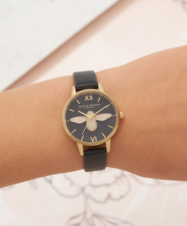 OLIVIA BURTON LONDON  Midi 3D Bee Black & Gold Watch OB16AM118 – Midi Dial Round in Black - Other view