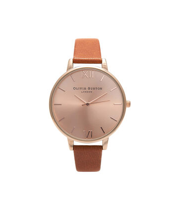 OLIVIA BURTON LONDON  Big Dial Tan And Rose Gold Watch OB15BD70 – Big Dial Round in Rose Gold and Tan - Front view