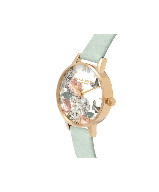 OLIVIA BURTON LONDON  Signature Florals Sage & Gold OB16WG50 – Midi Dial Round in Gold - Side view