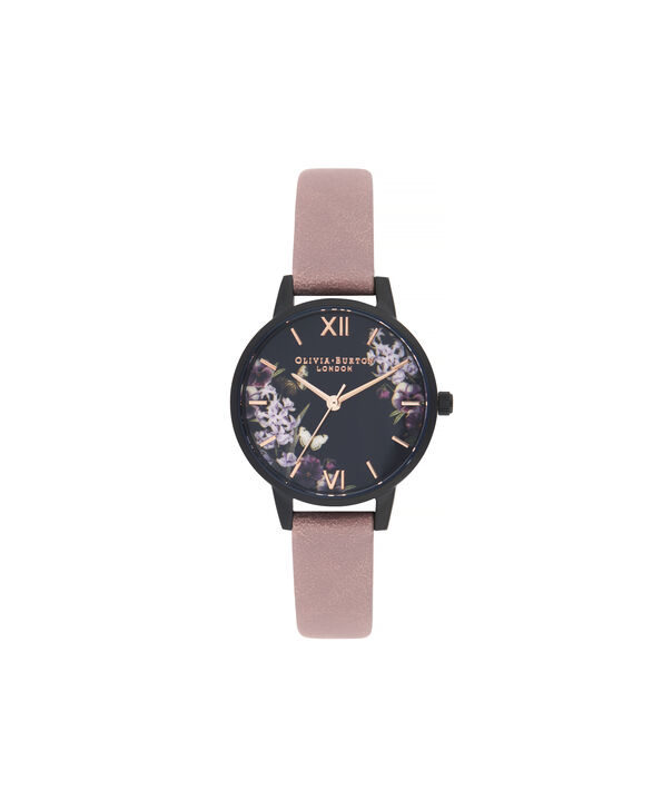 OLIVIA BURTON LONDON Blooms & Butterflies Garden Rose Suede And Rose GoldOB16EX109 – Midi Dial In Rose Suede And Ip Black And Rose Gold - Front view