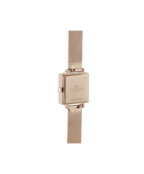 OLIVIA BURTON LONDON 3D Bee Square Dial Blush Sunray & Pale Rose GoldOB16AM164 – Demi Dial In Rose Gold And Rose Gold - Back view