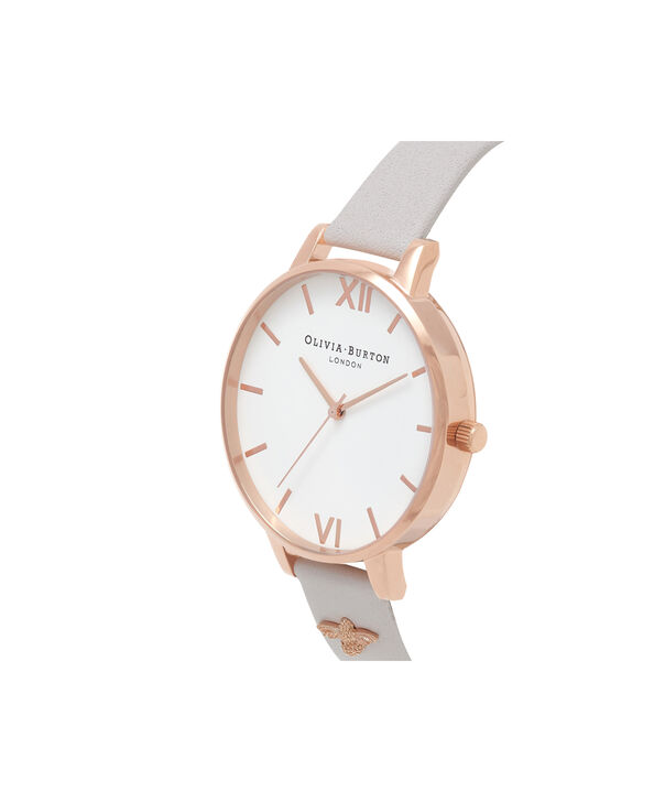 OLIVIA BURTON LONDON  3D Bee Embellished Strap Blush & Rose Gold Watch OB16ES02 – Big Dial Round in White and Blush - Side view