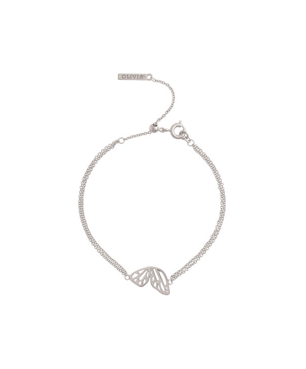 OLIVIA BURTON LONDON Butterfly Wing Chain Bracelet Silver OBJ16EBB03 – Butterfly Wing Chain Bracelet - Front view