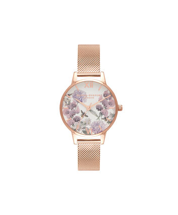 OLIVIA BURTON LONDON Enchanted GardenOB16EX90 – Midi Dial in White and Rose Gold - Front view