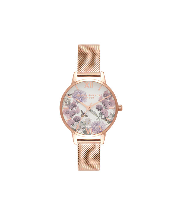 OLIVIA BURTON LONDON  Midi Enchanted Garden Bee Blooms Rose Gold Mesh Watch OB16EX90 – Midi Dial in White and Rose Gold - Front view