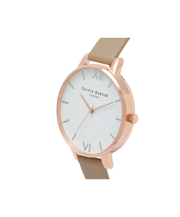 OLIVIA BURTON LONDON  White Dial Sand, Rose Gold & Silver Watch OB16BDW31 – Big Dial in Rose Gold, White and Sand - Side view
