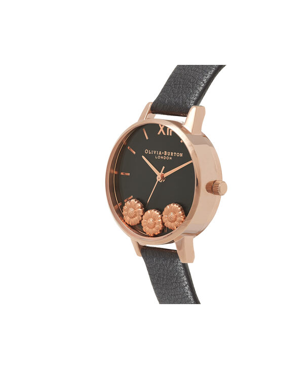 OLIVIA BURTON LONDON  Dancing Daisy Black & Rose Gold Watch OB16CH05 – Midi Dial Round in Black and Rose Gold - Side view