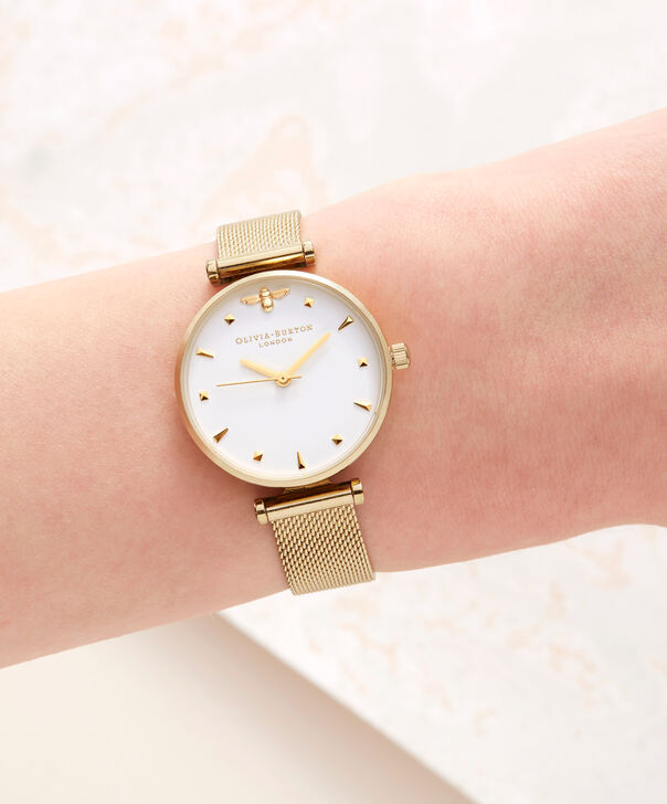 OLIVIA BURTON LONDON  Queen Bee Gold Mesh Watch OB16AM138 – Midi Dial Round in White and Gold - Other view