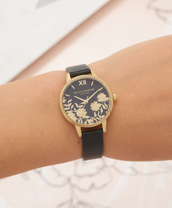 OLIVIA BURTON LONDON Lace Detail Black & Gold Watch OB16MV60 – Midi Dial Round in Black - Other view