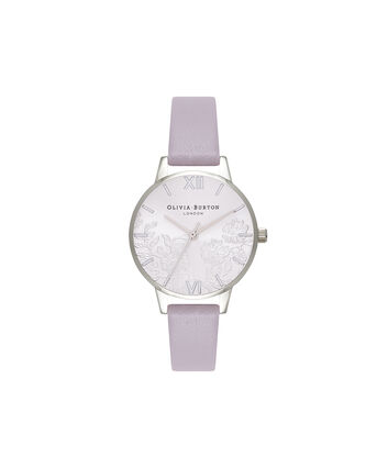 OLIVIA BURTON LONDON Lace DetailOB16MV76 – Midi Dial Round in Grey Lilac and Silver - Front view
