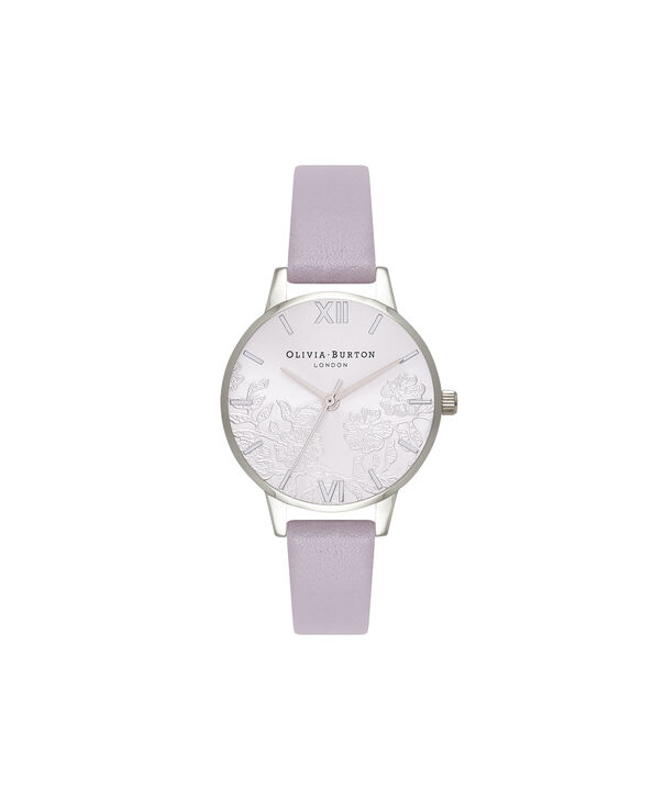 OLIVIA BURTON LONDON  Lace Detail Grey Lilac & Silver Watch OB16MV76 – Midi Dial Round in Grey Lilac and Silver - Front view