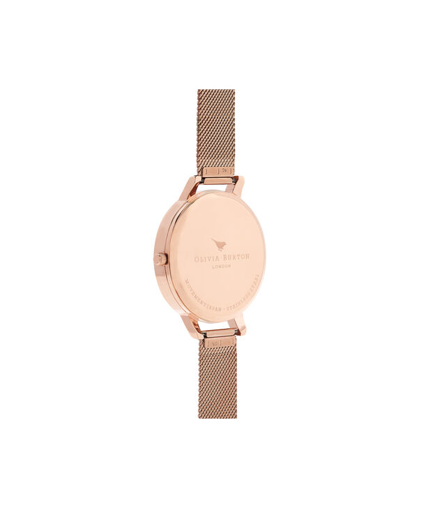 OLIVIA BURTON LONDON  Lace Detail Blush & Rose Gold Mesh Watch OB16MV79 – Big Dial Round in Blush and Rose Gold - Back view