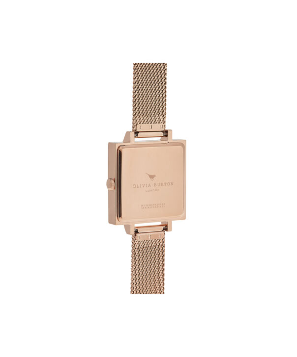 OLIVIA BURTON LONDON  Big Square Dial Rose Gold Mesh Watch OB16SS10 – Big Square in White and Rose Gold - Back view