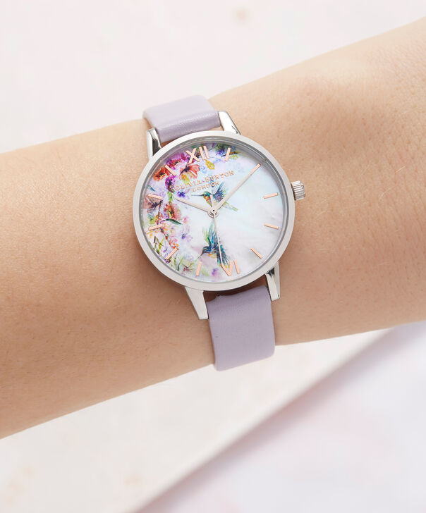 OLIVIA BURTON LONDON  Painterly Prints Parma Violet, Rose Gold & Silver OB16PP50 – Midi Dial Round in Silver and Rose Gold - Other view