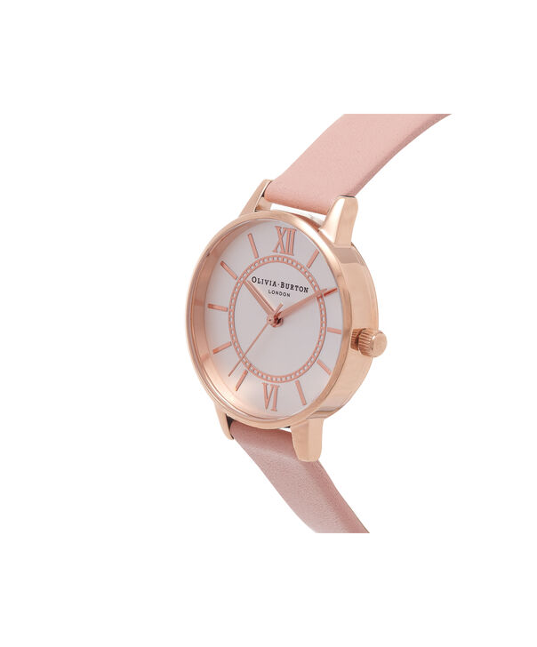 OLIVIA BURTON LONDON  Wonderland Dusty Pink And Rose Gold Watch OB15WD28 – Midi Dial Round in Silver and Pink - Side view