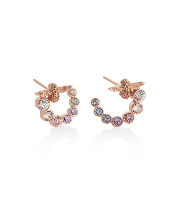 OLIVIA BURTON LONDON Rainbow Bee Swirl Hoop Earrings Rose GoldOBJAME126 – Earrings in Rose Gold - Side view