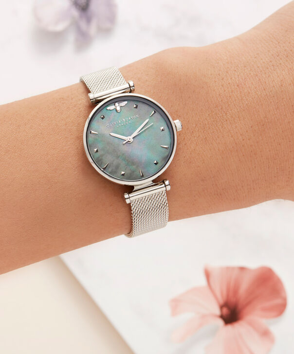 OLIVIA BURTON LONDON  Queen Bee Blue Mother of Pearl Silver Mesh OB16AM151 – Midi Dial Round in Silver - Other view