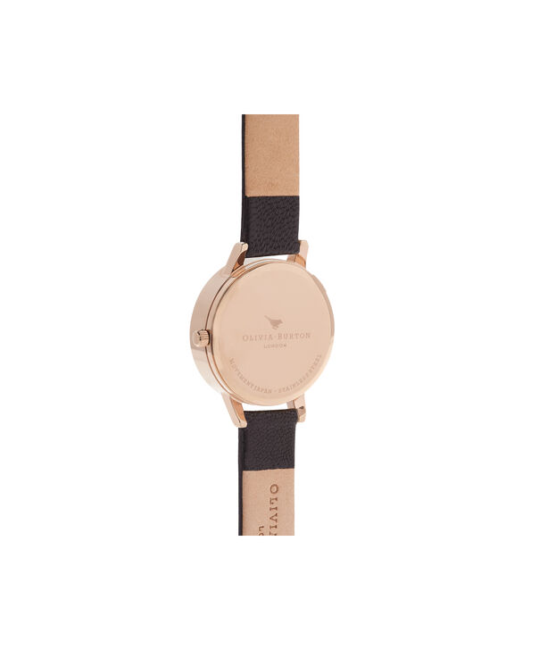 OLIVIA BURTON LONDON Botanical 3D Bee Black & Rose Gold WatchOB16AM100 – Midi Dial Round in Floral and Black - Back view