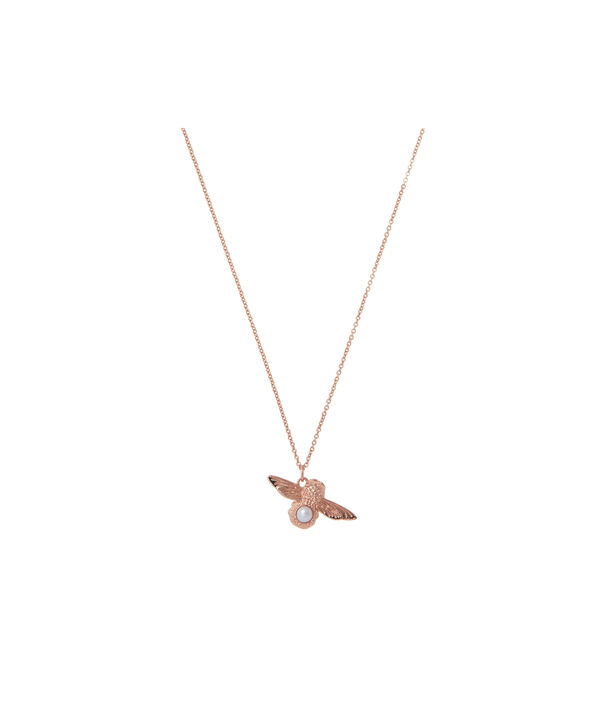 OLIVIA BURTON LONDON Pearl Bee Pendant Necklace Rose GoldOBJ16AMN29 – Pearl Bee Pendant - Front view