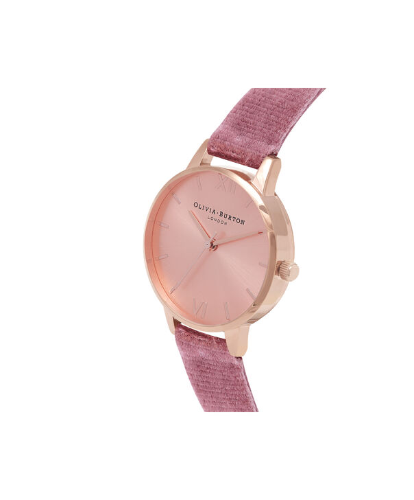 OLIVIA BURTON LONDON Exclusive Midi Dial Rose Velvet & Rose Gold Sunray OB16MD90 – Big Dial Round in Rose Gold - Side view