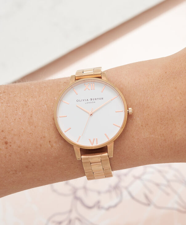 OLIVIA BURTON LONDON  White Dial Bracelet Rose Gold Watch OB16BL33 – Big Dial Round in White and Rose Gold - Other view