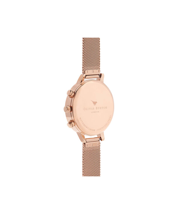 OLIVIA BURTON LONDON  Chrono Detail Rose Gold Watch OB16CG86 – Big Dial in White and Rose Gold - Back view