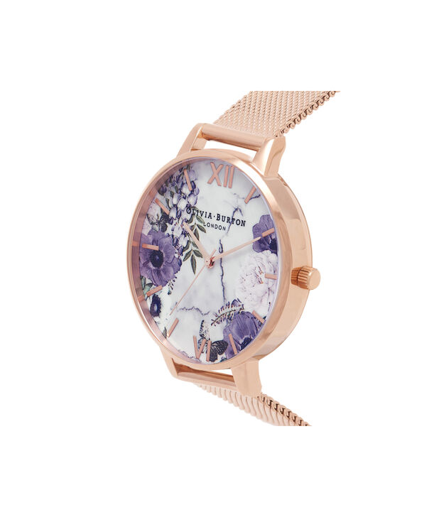 OLIVIA BURTON LONDON  Marble Floral Rose Gold Mesh Watch  OB16MF06 – Big Dial in Floral and Rose Gold - Side view