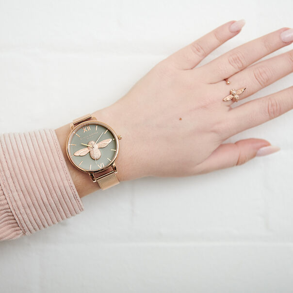 OLIVIA BURTON LONDON  3D Bee Rose Gold Mesh Watch OB16AM117 – Big Dial Round in Grey and Rose Gold - Other view