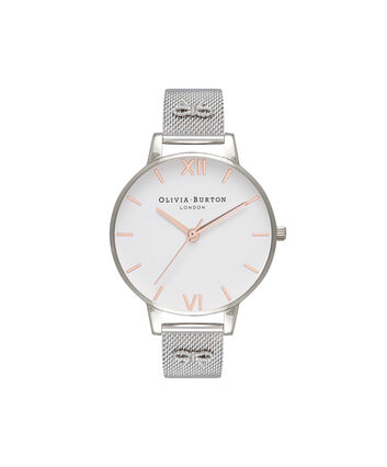 OLIVIA BURTON LONDON  Embellished Strap Rg & Silver Mesh Watch OB16ES10 – Big Dial Round in White and Silver - Front view