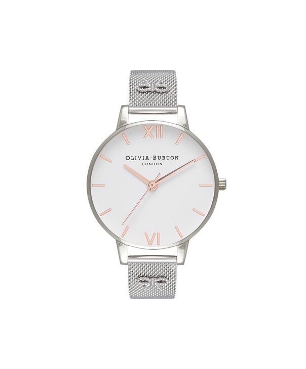 OLIVIA BURTON LONDON Embellished Strap Mesh Watch, Rose Gold & SilverOB16ES10 – Big Dial Round in White and Silver - Front view