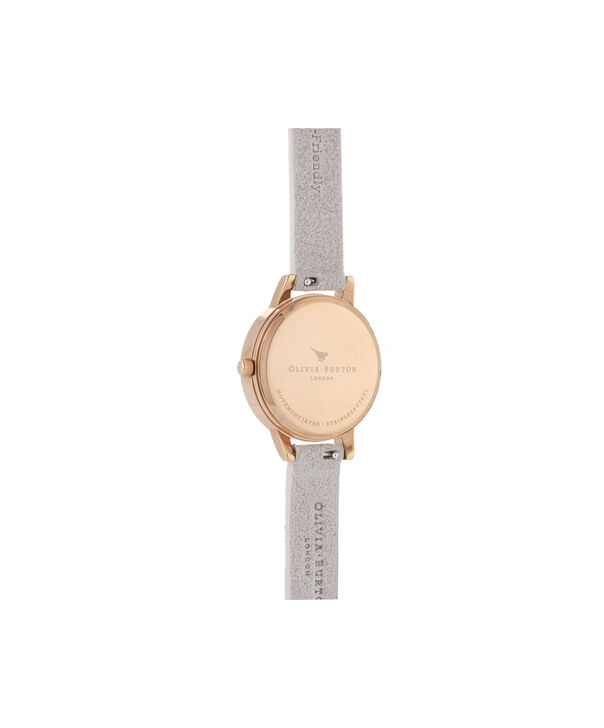 OLIVIA BURTON LONDON Eco-Friendly Midi Dial Rose Gold WatchOB16VE14 – Midi Dial in grey and Rose Gold - Back view