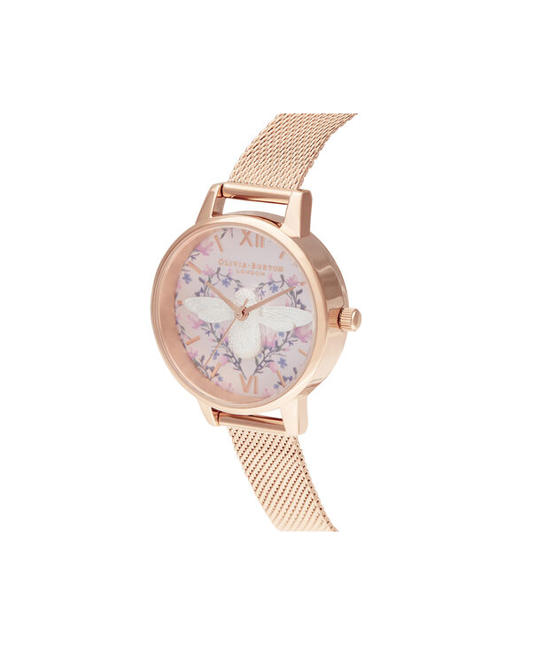 OLIVIA BURTON LONDON Meant to Bee Blush, Silver & Rose Gold MeshOB16AM166 – Demi Dial In Rose Gold And Rose Gold - Side view
