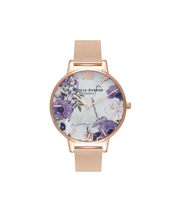 OLIVIA BURTON LONDON Marble FloralsOB16MF06 – Big Dial in Floral and Rose Gold - Front view