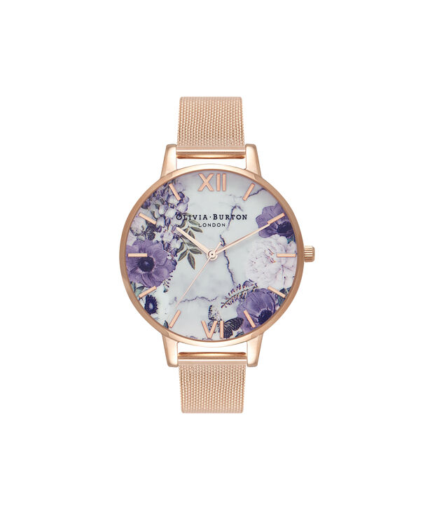 OLIVIA BURTON LONDON  Marble Floral Rose Gold Mesh Watch  OB16MF06 – Big Dial in Floral and Rose Gold - Front view